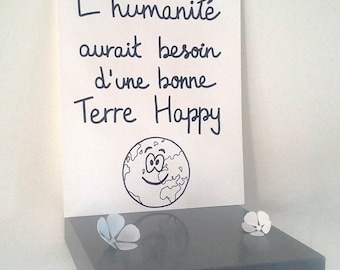 """inspirational """"Happy""""illustrated poster hand ground"""