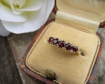 Vintage 9ct Gold 5 Stone Garnet Band Ring, Size N, Statement Ring, Engagement Ring, Vintage, Garnet, Ring, Vintage Garnet Ring, 5 Stone Ring