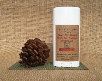 Mens Deodorant All Natural - From The Woods. Amazing woodsy, manly scent. Made with Cedarwood, Fir Needle, Patchouli Essential Oils.
