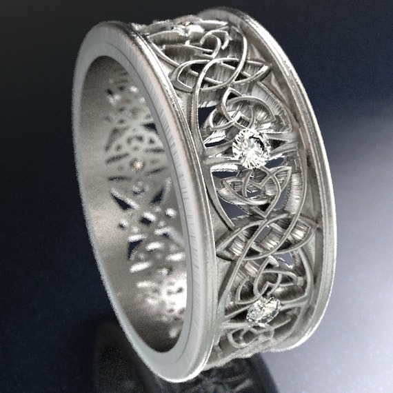Celtic Wedding Ring With Cut-Through Celtic Butterfly Knot Design With Diamonds in Sterling Silver, Made in Your Size CR-1040