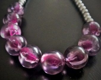 Purple, Silver & Matt Magenta Womens Chunky Necklace, Statement Necklace, Chunky Statement, Beaded Necklace, Bib Necklace