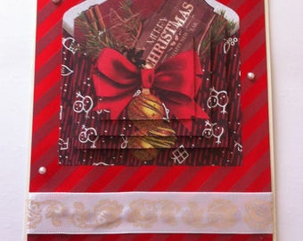 "Card ""Merry Christmas"" red bow"