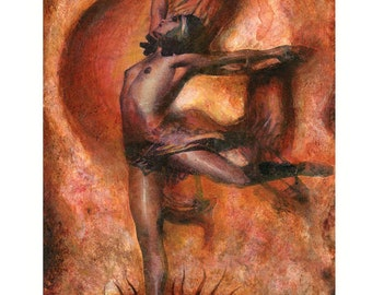 Witches' Dance - Signed Art Print. High quality art print on quality matte 300 gm2 paper signed by the artist-Spiritual dancer-A3