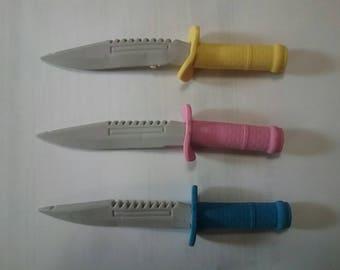 Knife....12 knives for 3.00....knife craft supply..Eraser knife cup cake topper....Pirate party favor......Ninja party favor...SALE.....