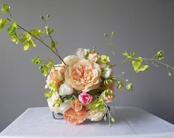 Peach Coral & Blush Bridal Bouquet, Spring Bouquet, Summer Bouquet, Tropical Wedding, Roses, Ranunculus