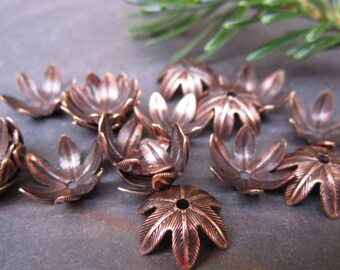 6 PC Antique Copper Blooming Petal 10mm Bead Caps