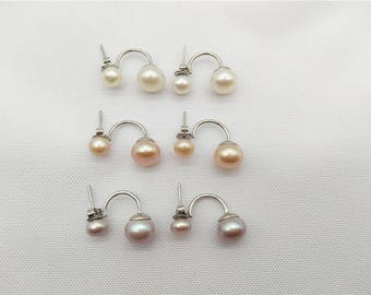 925 Sterling Silver 6-9mm White/Pink/Purple Freshwater Double Pearls Stud Earrings,RXER-1002