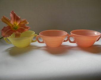 Soup Bowls, (3) PASTEL MODERNTONE Cream Soup Bowls