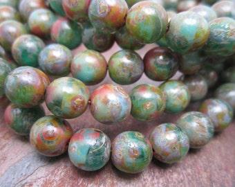 Picasso Tide Druk Czech Glass Round Beads 8mm, 24 Beads