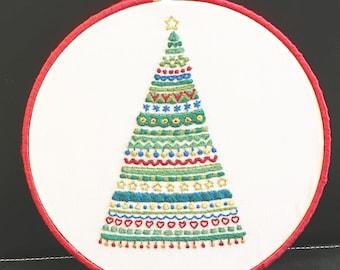 Mod Embroidered Christmas Tree Hoop