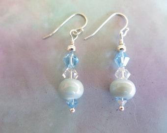 Soft Pale Blue Handcrafted Beaded Drop Earrings, Womens Attractive Dangle Earrings, Girls Darling Earrings, Airy Springtime Earrings, Gift