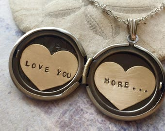 Personalized necklace, Love You More, Valentine's necklace, custom hand stamped message, gift for her, heart locket necklace