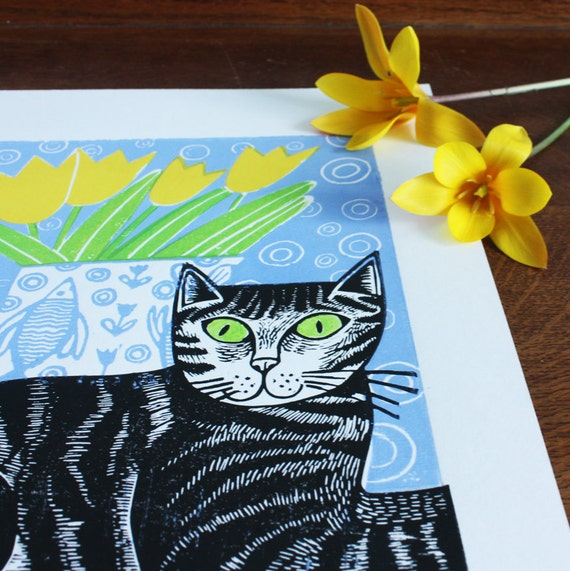 Millie the Cat – green eyes, by Kat Lendacka, Original Linocut Print, Signed Open Edition, Free Postage in UK, Hand Pulled, Printmaking,