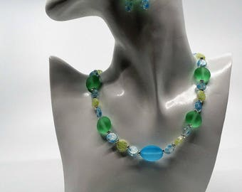 Summer Dream necklace, bracelet and earrings in cool summer colors