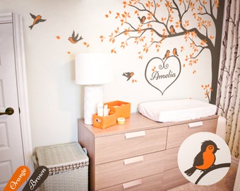 Tree wall decal Nursery wall decor corner tree decal sticker with birds and personalized heart name large wall art tattoo decoration KW006