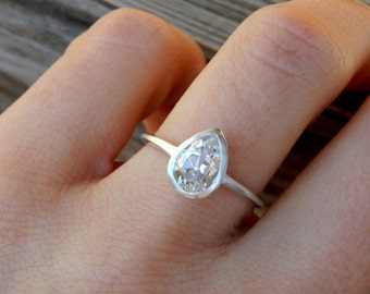 White Topaz Gemstone Ring, Pear Shaped Ring in Sterling Silver, Size 5.25