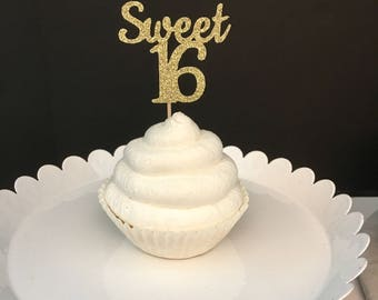 Any Color Glitter Sweet 16 Birthday Cupcake Topper, Sweet Sixteen cup Cake Topper, Glitter 16th Birthday cupCake Topper