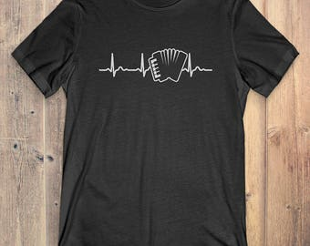 Accordion T-Shirt Gift: Accordion Heartbeat