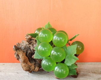 large green lucite grapes on wood . vintage table grapes grape cluster . vintage home decor, dining room decor, mid century kitchen decor