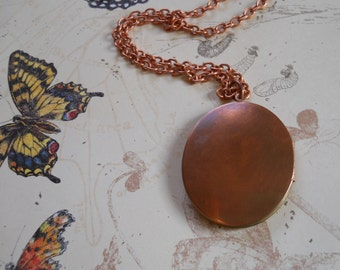 Vintage Brass and Copper locket on long copper chain necklace