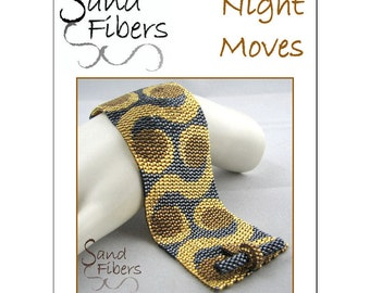 Peyote Pattern - Night Moves Peyote Cuff / Bracelet  - A Sand Fibers For Personal/Commercial Use PDF Pattern