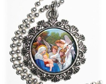 Song of The Angels Art Pendant, Angels, Madonna and Child Resin Pendant, William Adolphe Bouguereau Art, Photo Pendant