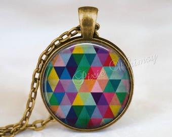 GEOMETRIC Pendant Necklace or Keychain, Sacred Geometry Mandala Triangle Art Glass Photo Art Jewelry, Geometry Multicolor