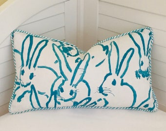 Groundworks Bunny Hutch Print in Turquoise Designer Lumbar Pillow Cover with Wavy Stripe Piping