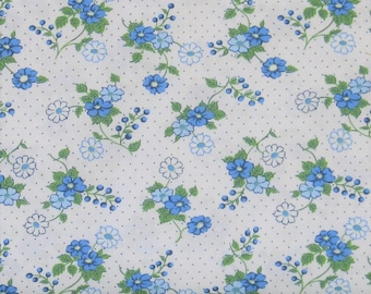 Sweet Blue and Green Flowers and Dots on White Cotton Quilt Fabric, Berries & Blossoms by Maywood Studios, Fat Quarter, Yardage, MAS8832-B