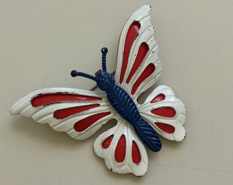 Vintage red white & blue butterfly brooch
