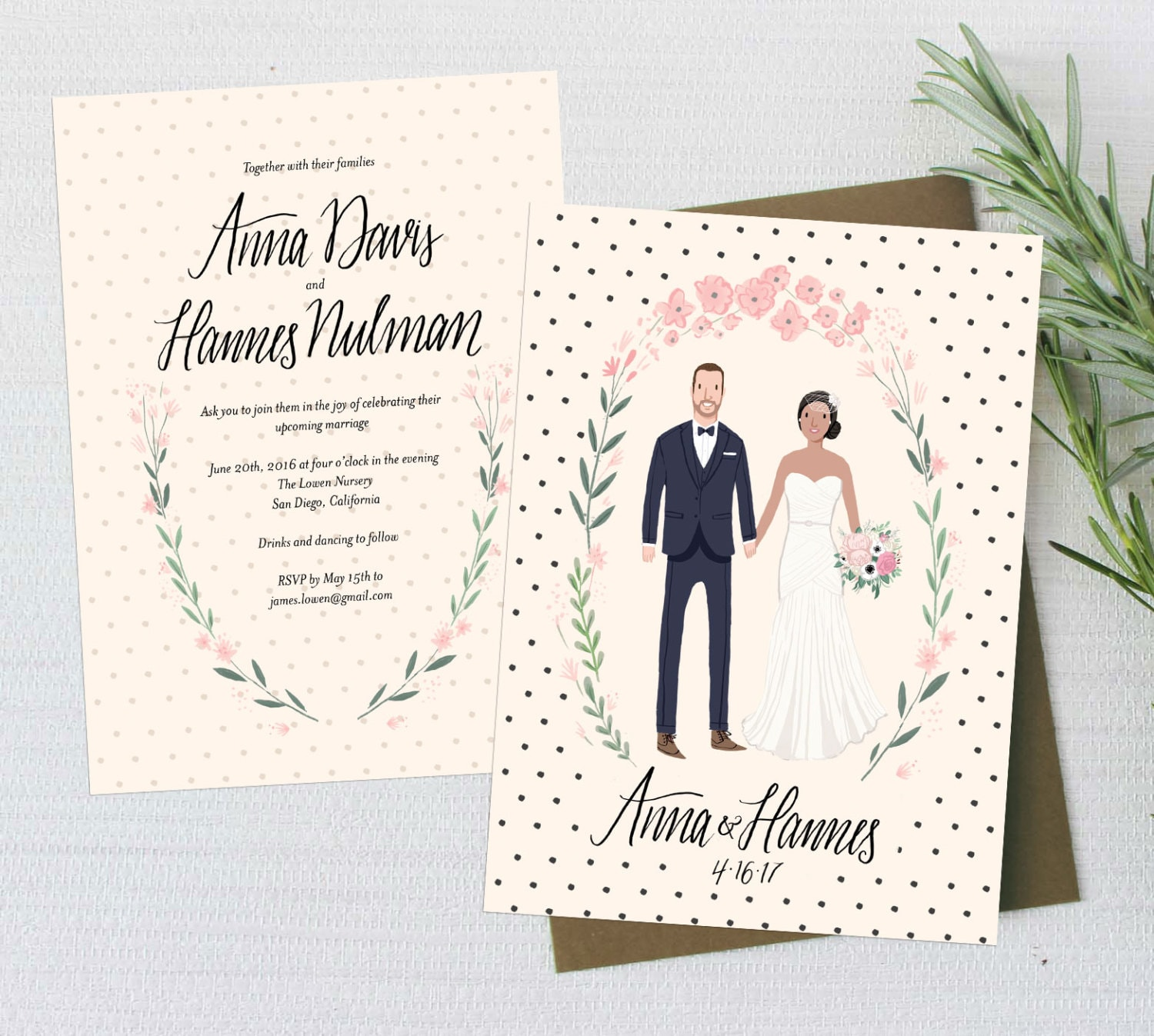 custom illustrated couple portrait wedding invitation suite