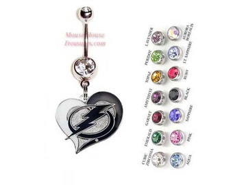 NHL Tampa Bay Lightning Heart Logo Belly Ring. Authentic Charm on Your Choice of Gem Colors!