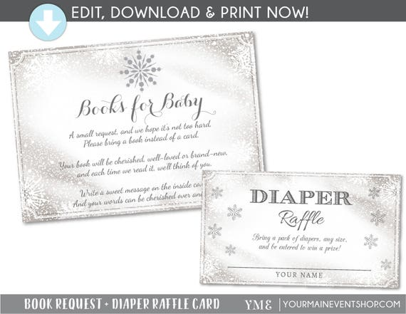 Book Request Card and Diaper Raffle Ticket - Winter Wonderland Baby Shower Diaper Raffle Card - Snowflake Book Request Diaper Request # 033