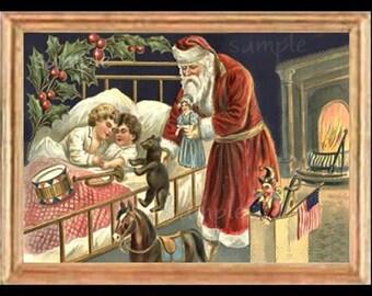 Christmas Santa Scene Miniature Dollhouse Art Picture 6858