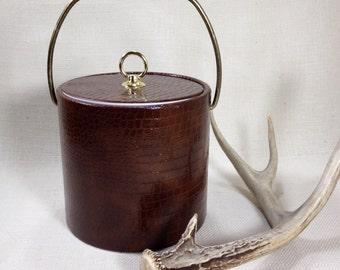 Vintage Ice Bucket Faux Crocodile Retro Ice Bucket Vinyl Faux Reptile  Faux Leather, Brown Gold Brass Mad Men Mid Century Barware
