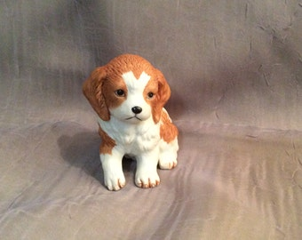 Homco Orangy Brown and White Dog Figurine #8828, Collie Puppy Figurine by Homco