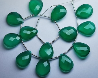 3 Matched Pair,Green Onyx Faceted Pear Shape Briolette, Size 12X16mm