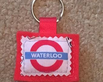 Handmade felt keyring - Waterloo Underground sign