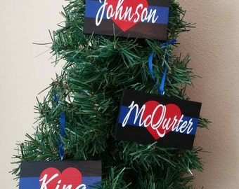 Thin Blue Line Police Wedding Ornament,  Police Officer gifts, Police Christmas, Blue Line Ornament, Police Wife, Deputy Wife