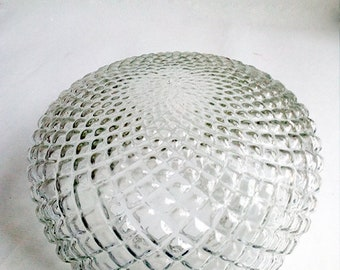 Vintage Translucent Glass Lamp Shade in Cylindrical Form with Geometrical Pattern. Lampshade for Ceiling, Wall or Floor Lamp.