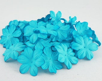 Turquoise Mulberry Paper Blooms Pbc051