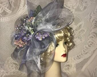 Grey, Purple, Lavender Church Derby Hat Fascinator