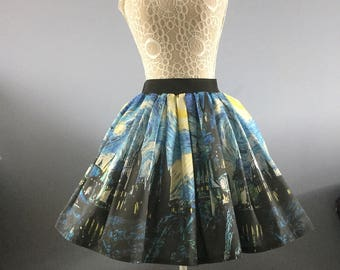Ladies Starry Night Wizard School full skater style skirt