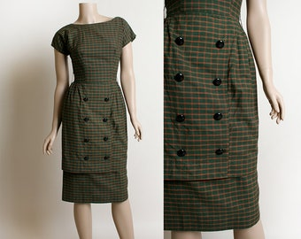 Vintage 1950s Dress - Dark Olive Green Plaid Tartan Wiggle Dress - Double Breasted Button Skirt Two Layered - XS