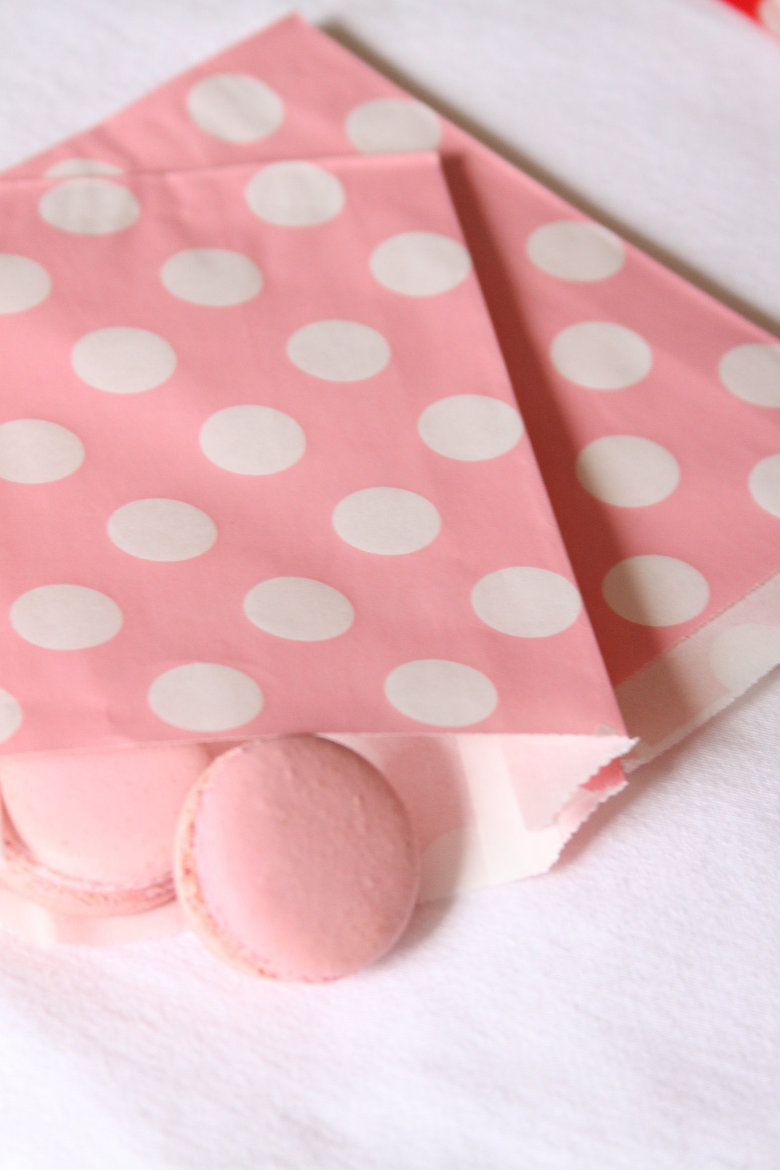 Blush Favor Bags, Pale Pink Polka Dot, Treat Bags, Gift Bags, Thank ...