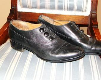 Vintage Black Leather Granny Shoes SZ 7.5 BAY CLUB Brazil, Womens