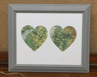 HEART TWO CiTIES Vintage Maps Framed Wall Art - Original Vintage Maps - Dual Locations Featuring Towns / Cities / Countries - Custom Made