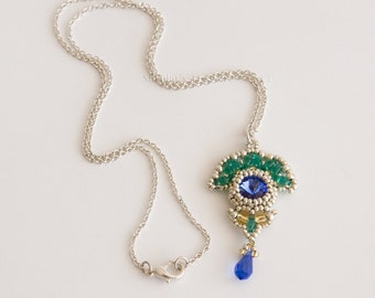 Silver Chain Necklace, Pendant with Saphire Blue Crystals and Beads in Emerald Green and Gold. Art Deco Style Beaded Pendant Necklace S191