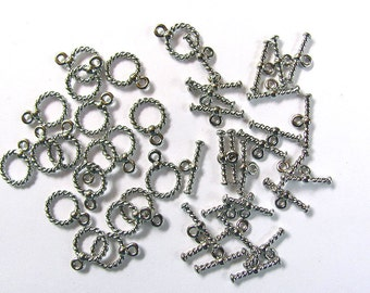 50 sets Silver Rope Twist Toggle Clasps