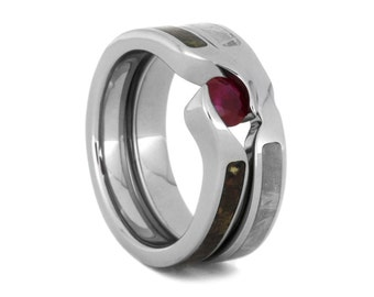 Ruby Bridal Set, Dinosaur Bone Engagement Ring With Meteorite Wedding Band, Titanium Engagement Ring Set